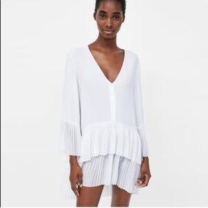 Zara chiffon pleated dress